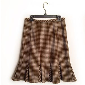 J crew wool pleated skirt houndstooth EUC 6P